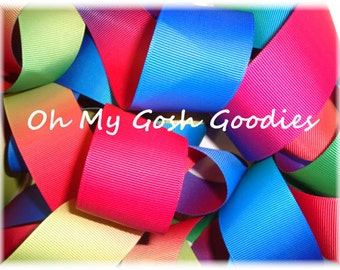 """PRIMARY OMBRE VARIEGATED Reversible grosgrain ribbon - 7/8"""", 1.5"""" , 2 1/4"""", 3"""" - 5 Yards - Oh My Gosh Goodies Ribbon"""
