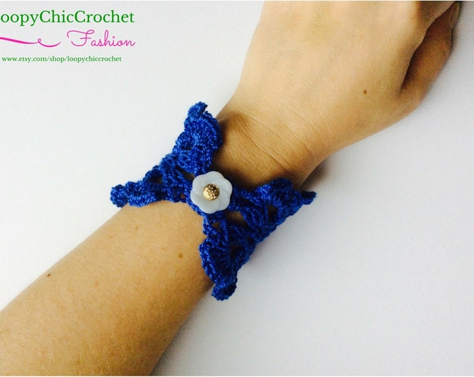 Blue Crochet Flower Bracelet, Flower Jewelry, Beach Accessories, Crochet Bracelet