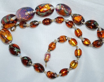 Art Deco  Foil Glass Bead necklace