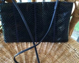 Vintage 80s Clemente Blue Snakeskin Handbag