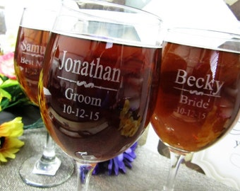 Set of 9 Personalized Wedding Wine Glass - Toasting Glass - Personalized Wine Goblet - Wedding Party Favor - Laser Engraved