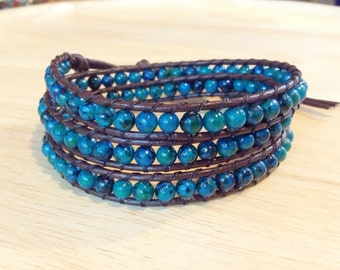 3 wrap leather bracelets with Crysocolla