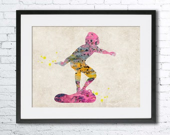 Surfer 2 watercolor print, Old paper watercolor, Surf art, vintage home decor, wall art, Old paper watercolor,surf watercolor, sea sports