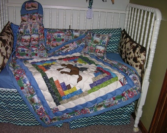 Western Cowboy Rodeo Crib Bedding Set & Crib Mobile