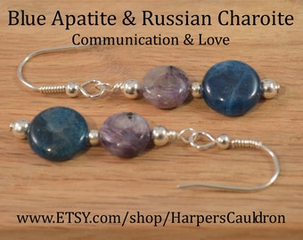 Apatite & Charoite Earrings, with Sterling Silver beads, on Hand-Made Sterling Silver Fish-hook Earwires