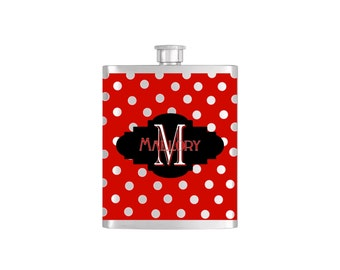 Personalized Flask Name Monogram Polka Dot Pattern Custom Color Bridesmaids Gifts - Stainless Steel 8 oz Liquor Hip Flasks - Flask #170