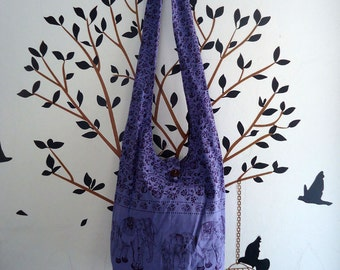 Hippie Elephant  bag Hobo Sling Crossbody Bag Messenger Purse  #Purple A