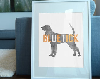 University of Tennessee Inspired Art Print / Smokey the Bluetick Coonhound