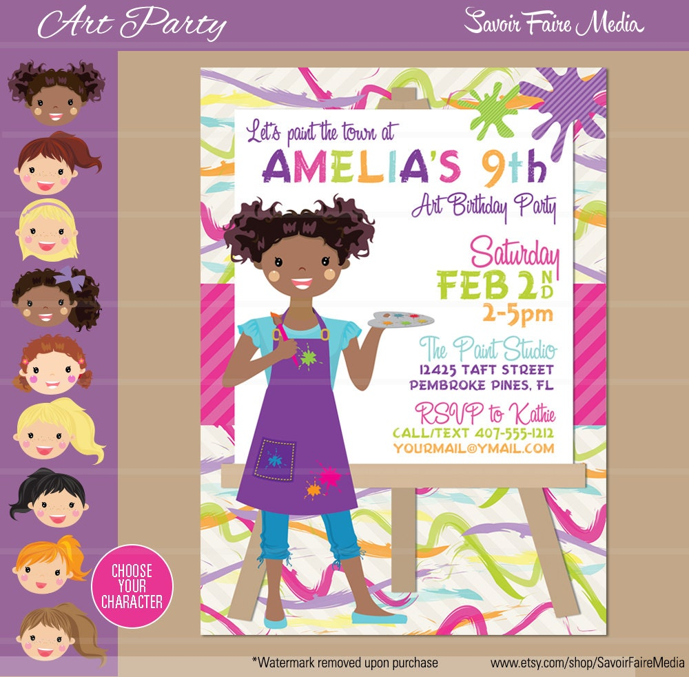 Art Party Invitation Painting Birthday Invitation Artist – Painting Birthday Invitations