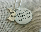 Home is where the hand is michigan hand stamped necklace handmade necklace michigan gift hand stamped necklace