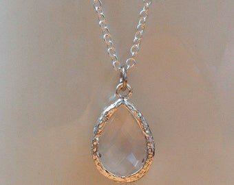 Silver and clear framed crystal necklace.