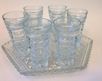 Italian Shot Glasses Diamond Cut with Tray Set of 6