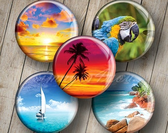 "Tropical charm 1"" bottle cap images for pendants 1 inch circles Digital Collage Sheet cabochon download printable round 30mm 25mm 1.25"" 1.5"""