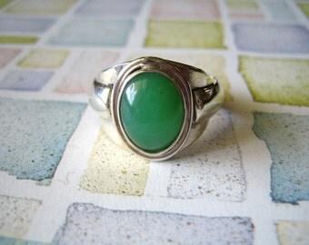 Sterling Silver Chrysoprase Ring #1