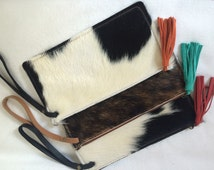 hermes leather - Popular items for cowhide clutch on Etsy