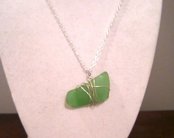 Emerald Sea Glass Necklace