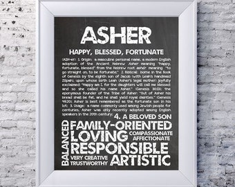 ASHER Personalized Name Print / Typography Print / Detailed Name Definitions / Numerology-calculated Destiny Traits / Educational