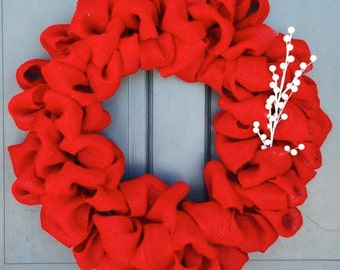 Red Burlap Wreath Finished with White Pearl Bead Sticks