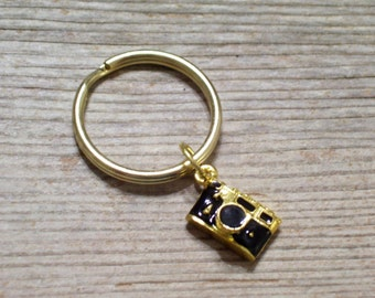 Gold Camera Keychain, Gold Plated Camera Key Ring, Photographer Key Chain