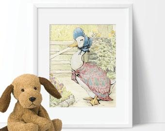 Baby Nursery Art - Peter Rabbit Nursery Art - Peter Rabbit Nursery Decor - Peter Rabbit Bedroom - Beatrix Potter Jemima Puddle Duck (S-268)