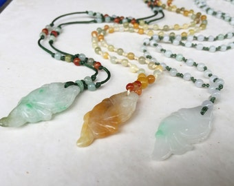Knotted Jade Carved Fish Pendant Necklace