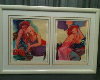 20th Century painter.  two lithographic print by N. Flang