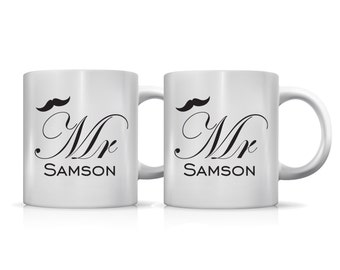 Set of 2 Mr and Mr gay wedding mugs mustache personalized