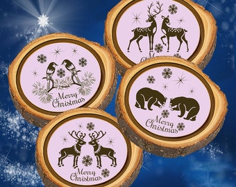 Elm Log Rounds Cute Animal Pairs Ornaments and/or Coasters
