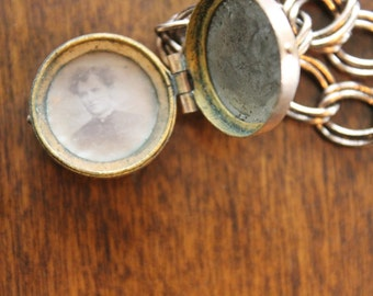 Vintage Brass Photo Locket Bracelet with Antique Photo