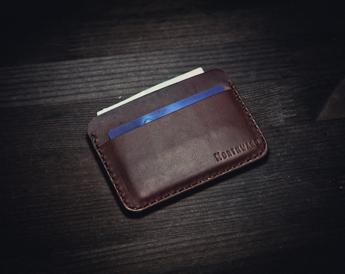 Horween Horsehide Chromexcel Leather Card holder/ Chromexcel Card Case/Leather Cardholder Wallet/Minimal Leather Wallet/