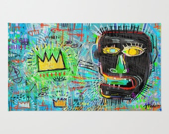 Funky Basquiat Rug, Urban Design, Bright Graffiti Rug for Kitchen Bathroom or Living Room, Great for Housewarming