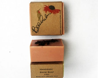 organic rose clay  Bee Balm scented soap / organic soap made in maine clay soap / pink red eco friendly humming bird bee balm print