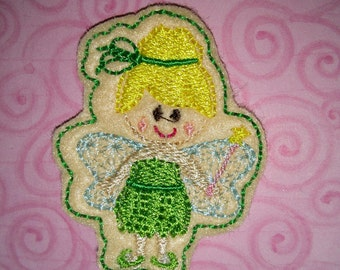 Set of 4 Filled Green Fairy Princess Cutie Feltie Felt Embellishment Bow!