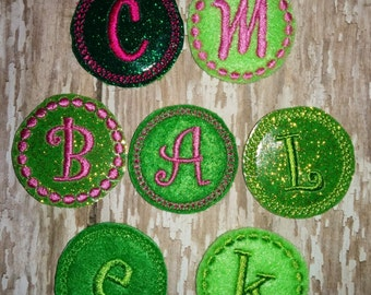 Set of 4 Green Initial Monogram Letter Glitter St Patty Patrick Patricks Patrick's Day Feltie Felt Embellishment Bow! Birthday Party