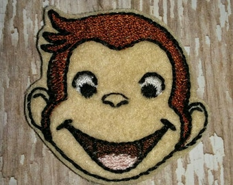 Set of 4 Curious George Monkey Feltie Felties Embellishment Bow! Birthday Party Oversized Large Oversize Planner Clip Decoration Decorations