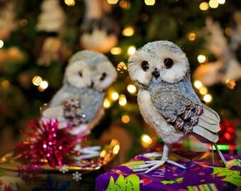 Natural Handmad Christmas Twin Owls