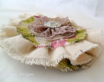 Floral fabric brooch. Fabric corsage. Textile Brooch. Accessories. Gift.