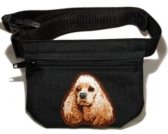 Cocker Spaniel embroidered dog treat bag / dog treat pouch with belt. For dog shows, dog walking and training. Great gift for dog lovers.