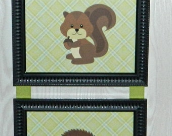 Kids Room Nursery Woodland Animal Squirrel, Hedgehog, Raccoon Picture Collage Wall Hanging Art