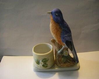 BEAUTIFUL BLUE BIRD  tooth pick holder