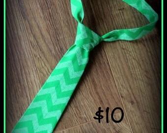 Little Boy Necktie / Handmade Mint Chevron Child Neck Tie
