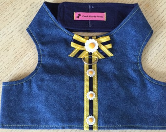 Dog Harness, Size Large, Denim and Daisies