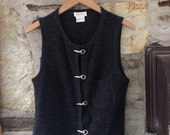 Grey vintage vest with silver hook eye buttons