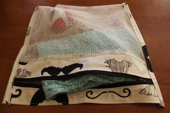 Black Cotton Laundry Bag: Moustache Mesh Laundry/lingerie/delicate/garment Bag