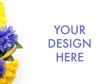 Styled Stock Photography | Flower Purple Yellow | White Background | Styled Stock Photography | Web Design Background | Floral