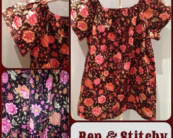 Nora girls Liberty fabric peasant top / tunic