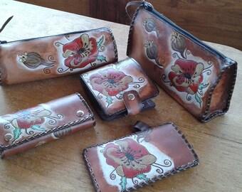 Leather Keys Case, Leather Keys Holder, Leather Keys Cover Wildflowers Poppies, Housse en cuir Key, Caso chiave di cuoio, Cuero Caso Key