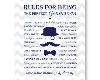 rules for being the perfect gentlem an sign little gentleman baby
