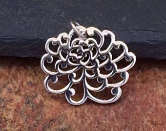 Chrysanthemum Charm, Chrysanthemum Pendant, Small Chrysanthemum Charm, Sterling Silver Chrysanthemum Charm, PS0181