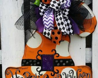 Witches hat door hanger, Halloween door hangers, Fall decor